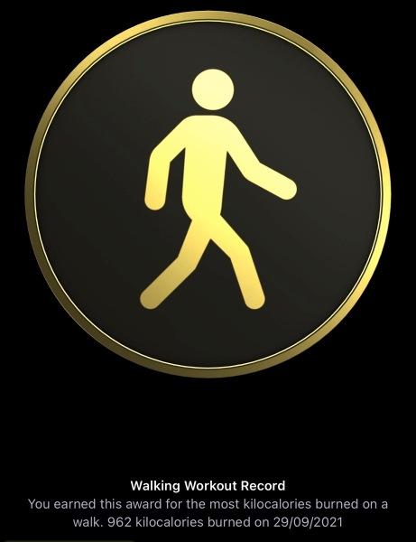Walking Workout Record 29 Sept 2021